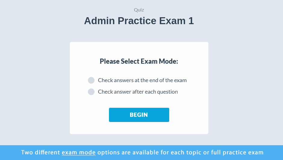 Administrator Certification Practice Exams